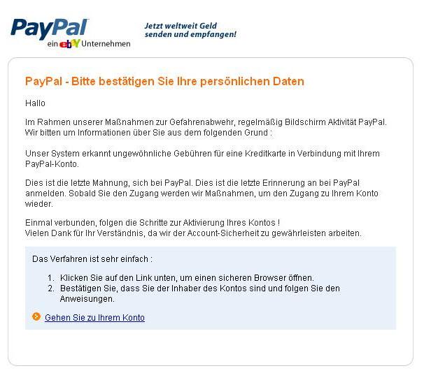 paypal fake mit original absenderadresse belugas abzocker blog. Black Bedroom Furniture Sets. Home Design Ideas