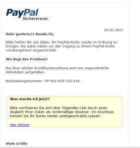 Paypal Fake vom 3.1.2013