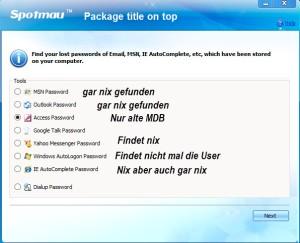Passwortretterx2_Access_Resultate
